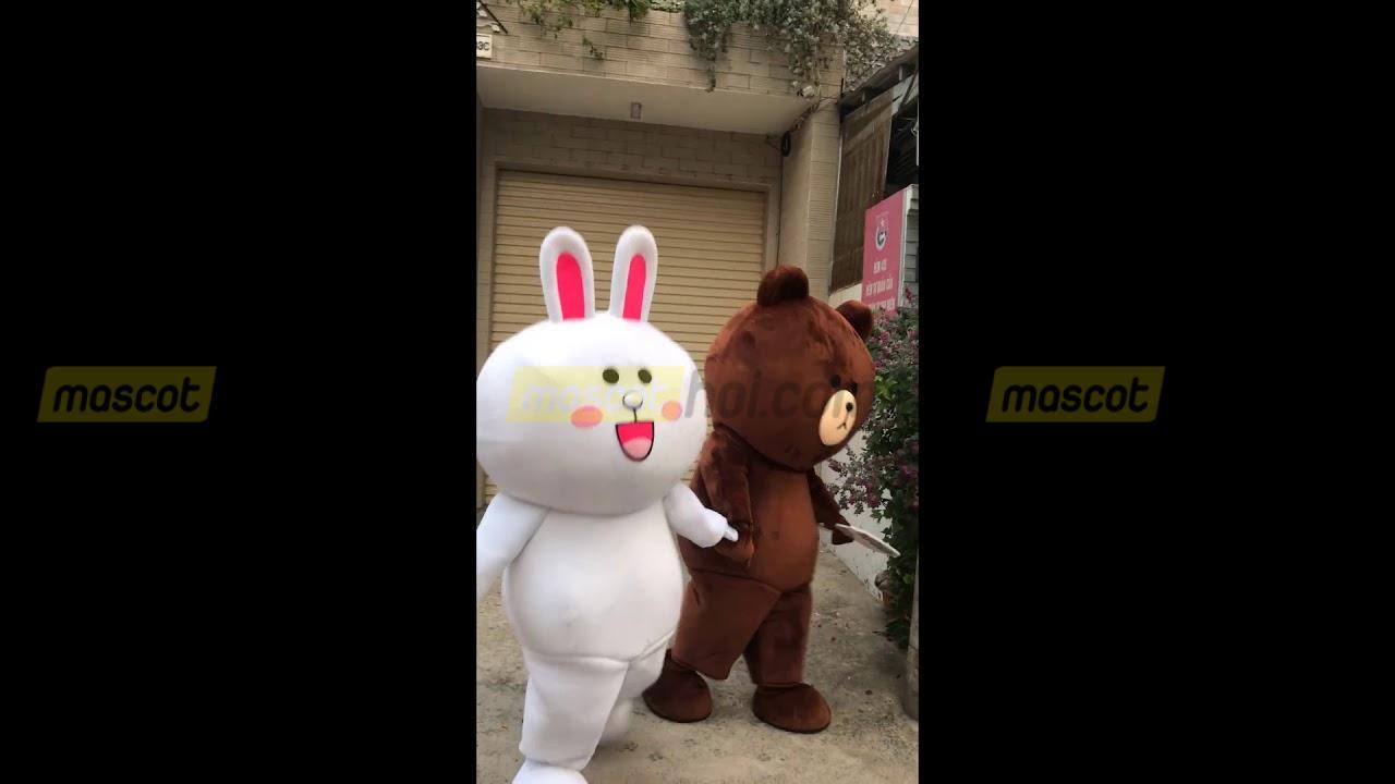 Mascot Thỏ Conny 3 và gấu nâu Brown