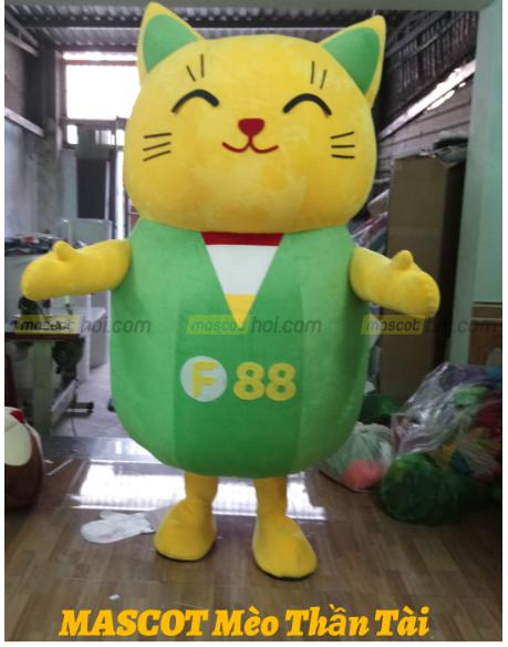 mascot Chú mèo thần tài vui nhộn