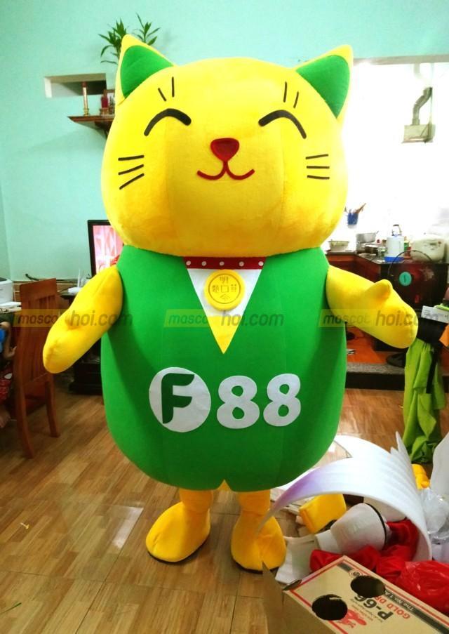 Mascot mèo thần tài may mắn